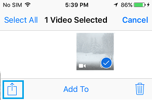 Share icon on iPhone Photos App