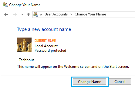 Change Account Name Screen on Windows 10