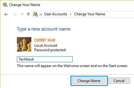 Change Account Name Screen on Windows 10