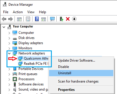 Uninstall Network Adpator in Windows 10