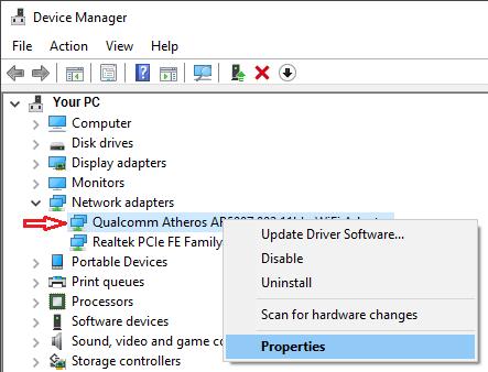 Network Adapter Properties Tab in Windows 10