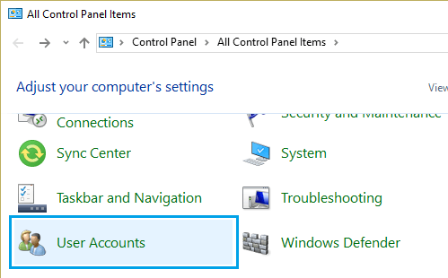 User Accounts Tab on All Control Panel Items Windows 10