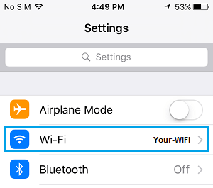 WiFi Tab on iPhone Settings Screen