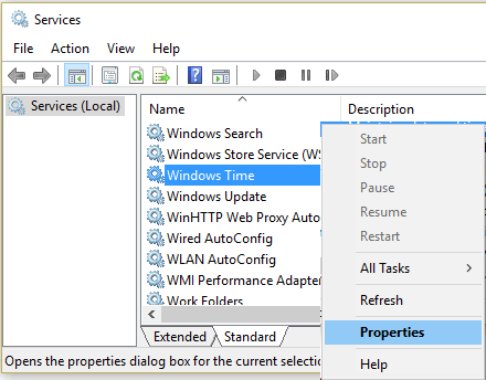 Windows Services Screen Showing Windows Time Entry