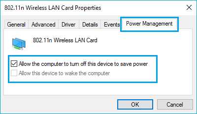 Disable Computer From Turning Off WiFi Adapter to Save Power