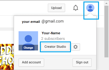YouTube Creator Studio Button