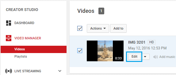 Edit Button on Uploaded YouTube Video