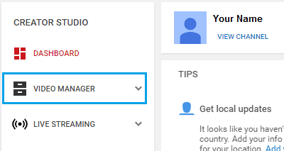 YouTube Video Manager Tab
