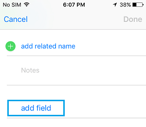 Add New Field to Contact Details On iPhone