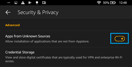 Allow Installation of Apps From Unknown Sources on Kindle Fire