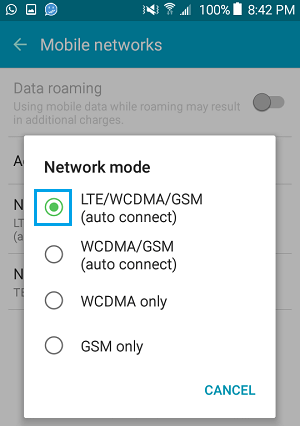 Network Mode Settings On Android Phone