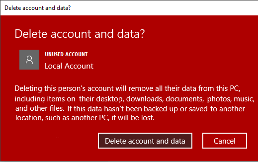Delete Account and Data Popup in Windows 10