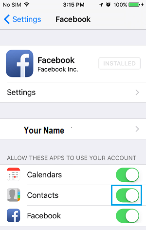 Disable Facebook Contacts on iPhone