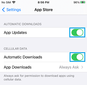 Enable Automatic Downloads For App Updates