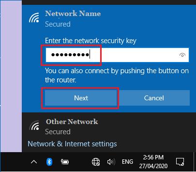 Enter WiFi Network Password