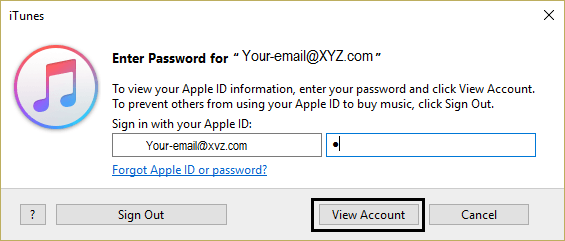 Enter Password to View Account
