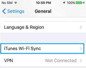 iTunes WiFi Sync Option on iPhone