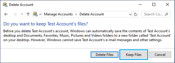 Keep Deleted User Account Files on Desktop