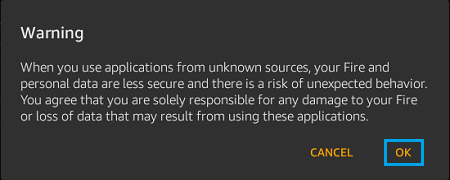 Warning pop-up on Kindle Fire About Installing Apps From Unknown Sources