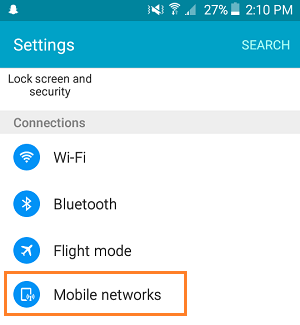 Mobile Networks Option On Android Phone