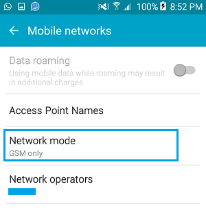 Network Mode Setting On Android Phone