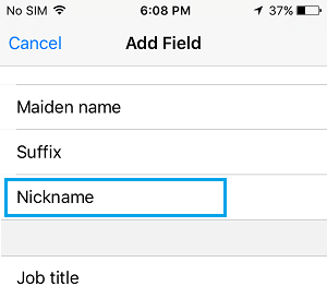 Add Nickname Field to Contact on iPhone