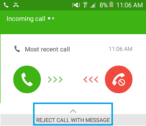 Answer Incoming Call With Message Option On Android Phone