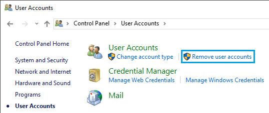 Remove User Accounts Option in Windows 10