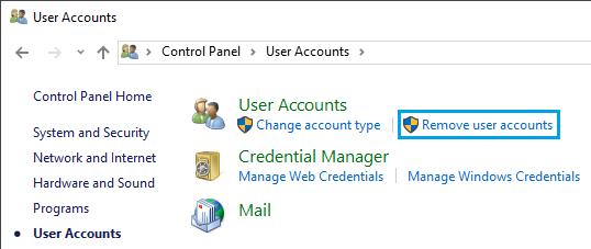 Remove User Accounts Option in Windows 10 Control Panel