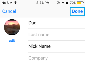 Save Changes to Contact Profile on iPhone