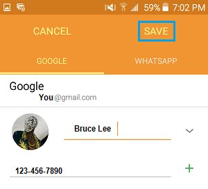 Save Changes to Contact On Android Phone