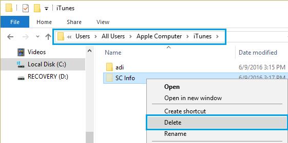 Delete SC Info Folder