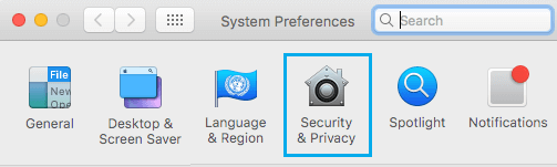 Security & Privacy Tab on Mac System Preferences Screen