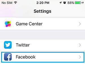 Facebook Settings on iPhone