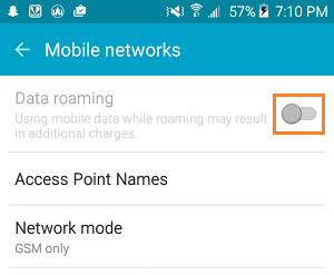 Disable Data Roaming on Android Phone