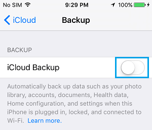 Turn Off iCloud Backup on iPhone