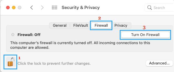 Turn ON Firewall on Mac