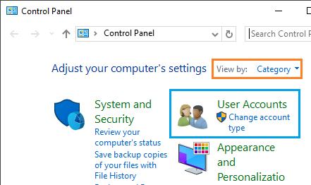 User Accounts Option in Control Panel in Windows 10