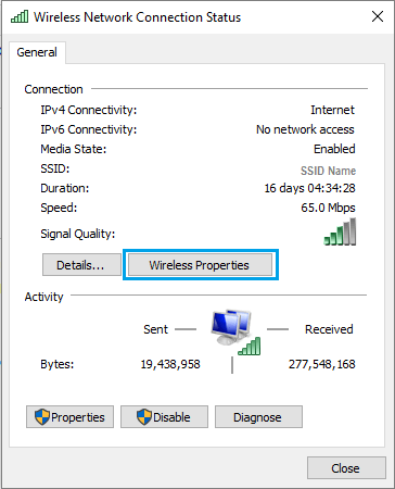 Wireless Network Connection Status Screen in Windows 10