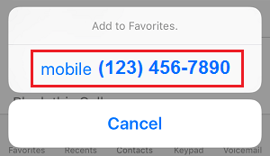 Add Contact Phone Number to Favorites