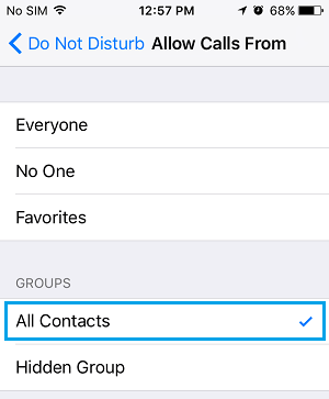 Allow Calls From All Contacts Option on iPhone