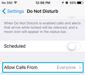 Allow Calls From Tab on iPhone