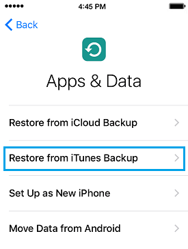 Apps and Data Screen Restore from iTunes Backup Option