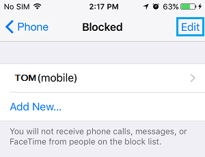 Blocked Phone Numbers Screen On iPhone