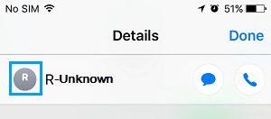 Pantalla de detalles de contacto en iPhone