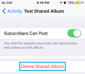 Delete Shared iCloud Album from iPhone