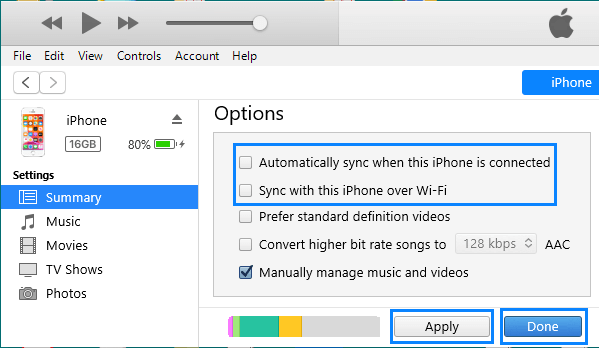 Disable iPhone Auto Sync to iTunes