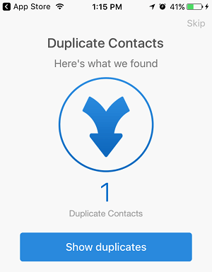 Duplicate Contacts Screen, Simpler Contacts App
