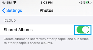 Enable iCloud Shared Albums on iPhone