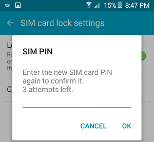 Confirm New SIM PIN Popup On Android Phone